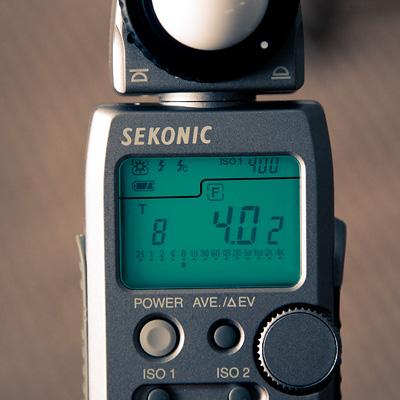 Fotómetro, 1/8, f4, ISO 400